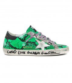 GOLDEN GOOSE  - PRINTED GREEN PYTHON SUPERSTAR SNEAKERS