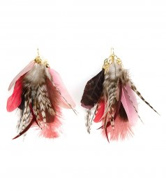 ACCESSORIES - EARRINGS WITH PINK FEATHERS